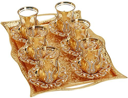 (Set of 6) Turkish Tea Glasses Set with Saucers Holders Spoons & TRAY, Decorated with Swarovski Type Crystals and Pearl,25 Pcs