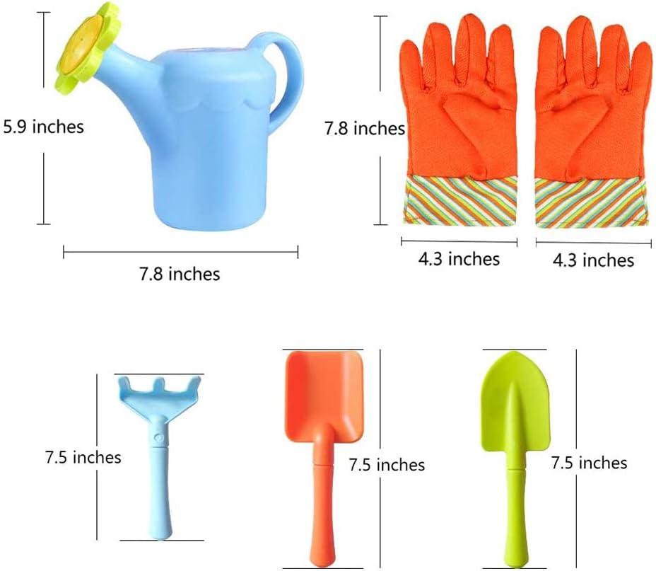 8 Piezas Set de Herramientas de jard/ín de pl/ástico para ni/ños con Guantes de Sol Ettzlo Jardin denfants Set