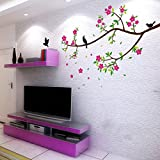Beautiful Flowers Leaves Branch Birds Wall Decal Home Sticker Paper Removable Living Room Bedroom Art Picture DIY Mural Girls Boys kids Nursery Baby Playroom Decoration + Gift Colorful Butterflies