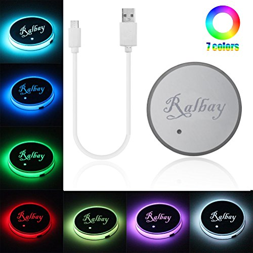Ralbay Car Styling LED Cup Holder Pad 7 Color Changing Car Interior Decoration Atmosphere Lights USB Rechargeable Waterproof Drink Coaster for All Cars-Automatically Turn On at Dark(Pack of 1pc)