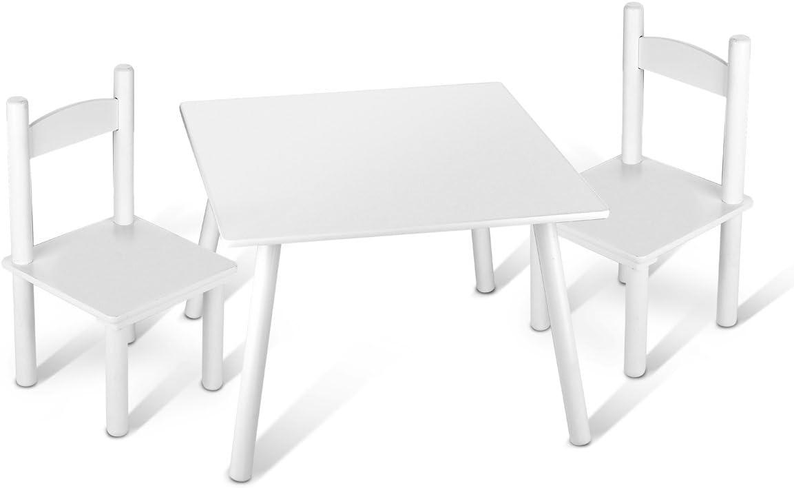 Leomark Mesa con 2 sillas Todo en Madera, Blancos Mesas y sillas Infantiles de Madera, Juego de Muebles Infantiles, para Cuarto de los niños