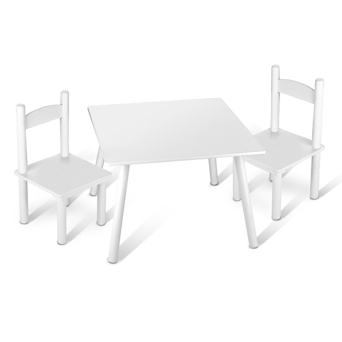 Tavolino Set Da Cameretta Per Bambini Tavolo e 2 Sedie In Legno Stanza Dei Bambini Mobili Alta Qualità Stabile Bianco Leomark