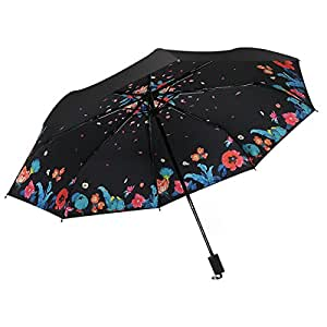 Anti-UV Compact Three Folding Premium Alloy Reinforced Windproof Frame Water Travel Golf Umbrella Slip-Proof Handle Easy Carry,C-2