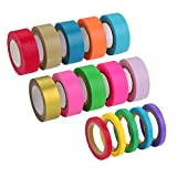Outus Washi Tapes Masking Tape Roll Rainbow Color Adhesive Tape for DIY Crafts Scrapbooking Decoration, 10 Roll (15 mm Wide) and 5 Roll (5 mm Wide)