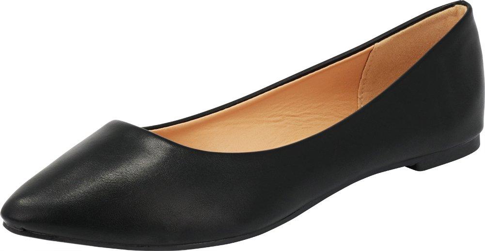 Cambridge Select Women's Classic Closed Pointed Toe Slip On Ballet Flat B07D838HQN 7.5 B(M) US|Black Pu