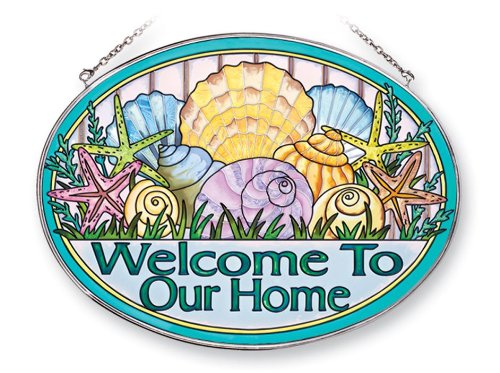 (Amia 41241 Seashell Welcome to Our Home 9 by 6-1/2-Inch Oval Sun Catcher,)