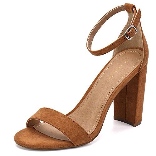 Moda Chics Women's High Chunky Block Heel Pump Dress Sandals Tan MF 8 D(M) US