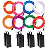 Soltuus 8 Pack/9.8 ft EL Wire Kit, Portable Neon Lights for Parties, Halloween, Battery Operated 3 Modes Blacklight Run, DIY Decoration