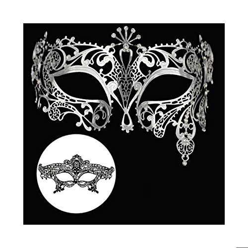 Masquerade Mask for Women Shiny Metal Rhinestone Mask Party Porm Ball Mask Free Lace Mask (Peacock Silver) ()