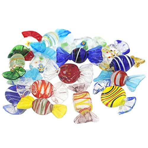 Carrep 15Pcs Vintage Glass Sweets Candy Ornament for Home Party Wedding Christmas Festival Decorations Gift