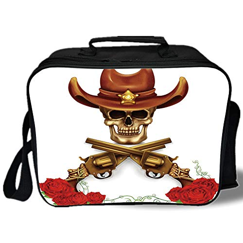 Insulated Lunch Bag,Rose,Sheriff Skull in Cowboy Hat Crossed Guns Red Blooms Death Duel,Dark Orange Pale Coffee Vermilion,for Work/School/Picnic, Grey