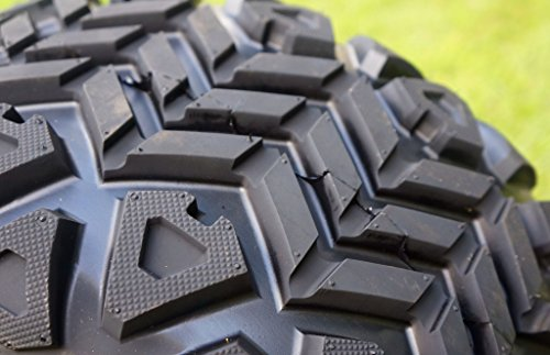 12'' TERMINATOR Gloss Black Golf Cart Wheels and 20x10-12 DOT All Terrain Golf Cart Tires - Set of 4 - NO LIFT REQUIRED (read description) by Golf Cart Tire Supply (Image #1)