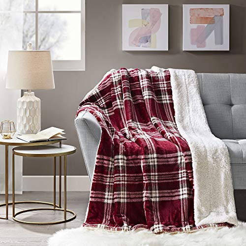 Comfort Spaces Sherpa to Plush Blanket Ultra Soft and Cozy Plaid Pattern Throws for Couch, Bed, Cranberry
