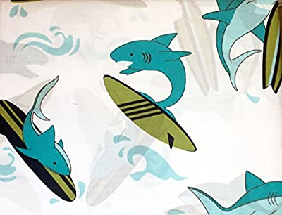 Authentic Kids 3 Piece Twin Size Single Bed Sheet Set Green Blue Surfing Sharks Surfboards