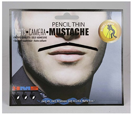 Men's Self Adhesive Pencil Moustache (Black)