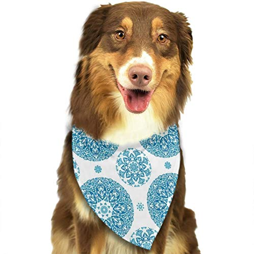 Dog Bandana Floral Circular Pattern Lace Ornamental Snowflake Design Print Pet Scarf Pet Dog Bandanas Washable Triangle Dog Scarf,Pet Accessories