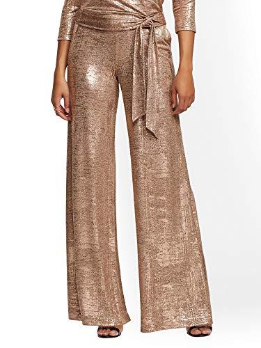 New York & Co. Women's Metallic-Foil Palazzo Pant Medium Rose Gold Metallic Scs