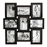 MELANNCO 9-Opening Flat and Curved Collage Frame, 18-Inch-by-18-1/4-Inch, Black