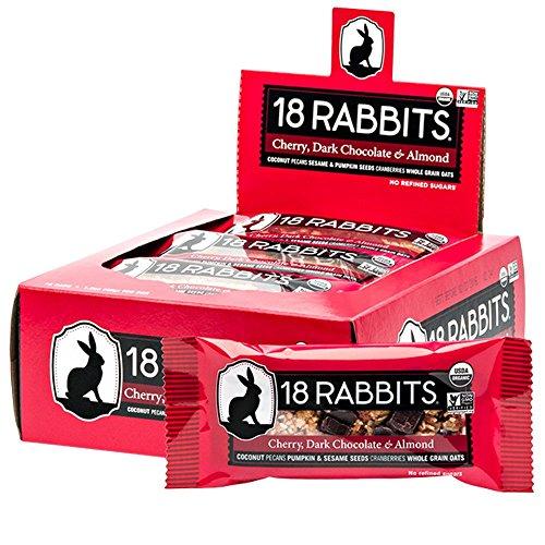 18 Rabbits Organic Gluten Free Granola Bar, Cherry, Dark Chocolate & Almond, 1.6 Ounce (Pack of 12)