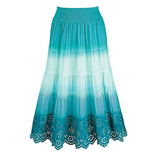 Women's Ombre A-Line Gauze Peasant Skirt with Eyelet Lace Trim, Turquoise, Medium