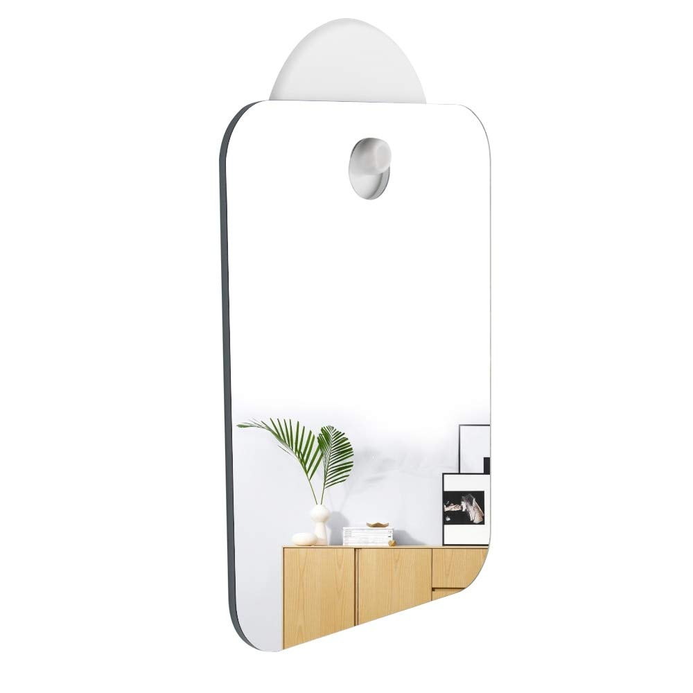LUCILAS Anti Fog Shower Mirror Fogless Shaving Mirrors Bathroom Washroom Hanging Makeup Mirror Without Hook Easy to Clean ping