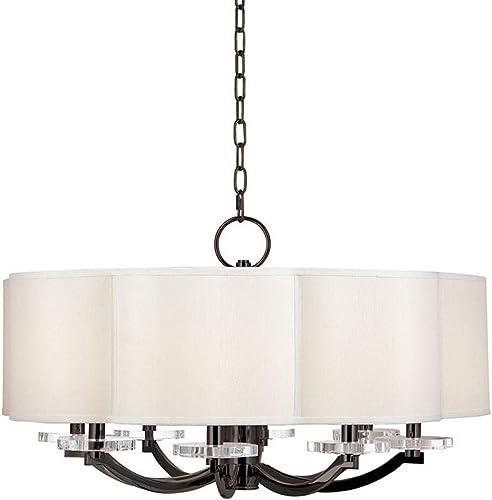 Hudson Valley Lighting 1432-OB Garrison – Eight Light Chandelier, Old Bronze Finish with Off-White Faux Silk