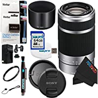 Sony E 55-210mm F4.5-6.3 OSS Lens for ILCE-7, ILCE-7R, ILCE-7S, NEX-3, NEX-5, NEX-C3, NEX-5N, NEX-7, NEXF3, NEX5R, NEX-6, NEX-3N, NEX 5T, A3000, A5000, A6000, A3500, A5100 Sony E-Mount Cameras (Silver) + 64GB Pixi-Battery Accessory Bundle