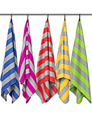 Fit-Flip Strandhandtuch XXL 200x90cm / Rot - Grau gestreift- aufhänger rund, strandlaken 90x200, Handtuch groß 90x200, badetuecher Gross