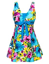 Ecupper One-Piece Shaping Body Floral Plus Size Bathing Suit for Women