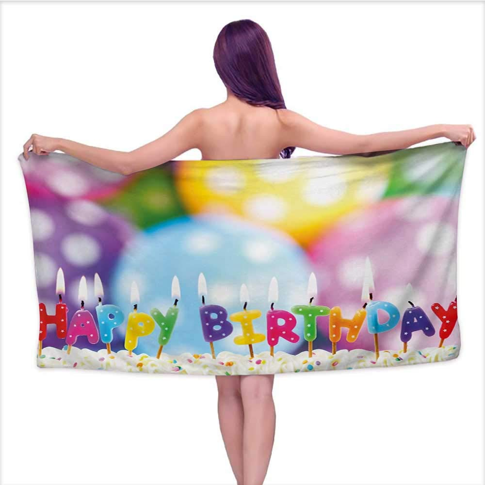Onefzc Travel Bath Towel Kids Birthday Celebration Colorful Candles on Party Cake with Abstract Blurry Backdrop Super Soft Highly Absorbent W35 x L12 Multicolor