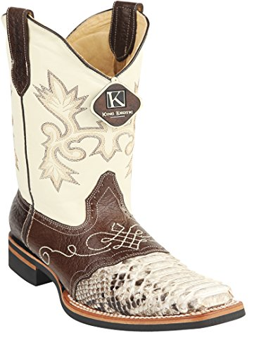 Mens Natural Genuine Leather Rubber Sole Rodeo Western Boot With Saddle Python Skin TgCRgvM6