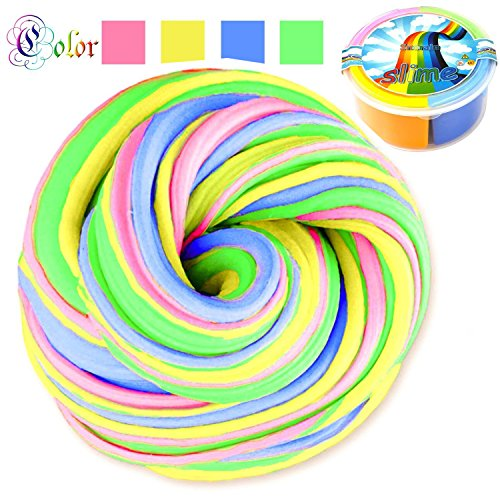 Price comparison product image Fibevon Fluffy Slime - 10 OZ Jumbo Fluffy Floam Rainbow Slime with 4 Containers,Non-sticky