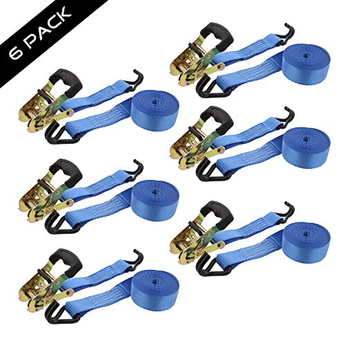Abn Ratchet Anchor Cargo Tie Down Straps, 1.5in x 15ft, 2-Ton Capacity - Heavy Duty J-Hook Ratcheting Kit 6-Pack