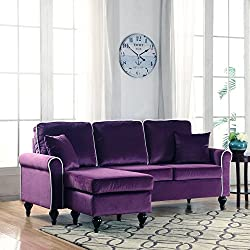 Divano Roma Furniture Classic and Traditional Small Space Velvet Sectional Sofa with Reversible Chaise (Purple)