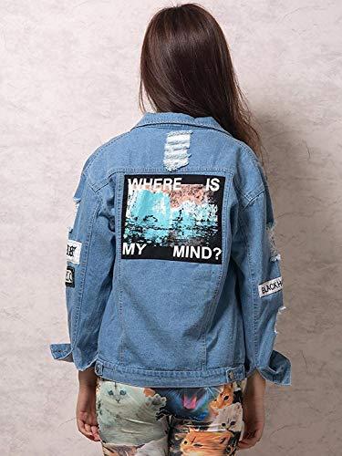 Battercake Denim Bavero Di Blu Con Digitale Button Casual Manica Giacche Autunno Strappato Elegante Casuale Moda Stampate Hipster Giacca Cappotto Donne Jeans Tasche Outerwear Primaverile Lunga Donna F4Fraq