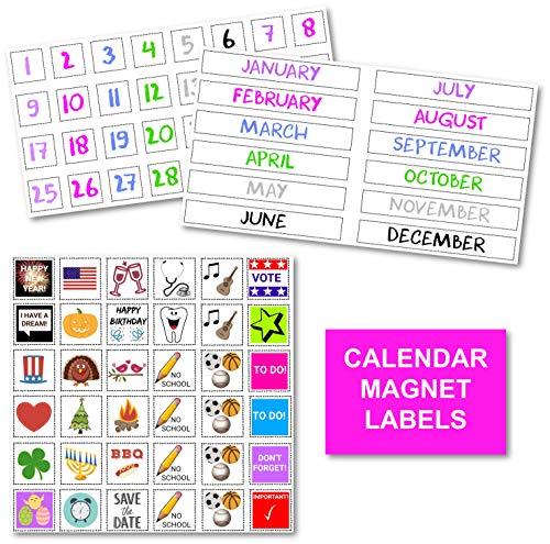 XOXO Parents Colorful Magnetic Numbers and Month Labels to Organize Any Dry Erase Magnet Fridge Calendar, Plus Fun and Reusable Holiday Icons ()