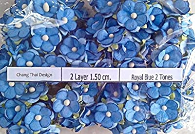 100 Royal Blue 2 Tone Mulberry paper 2 layer Flower Wedding Scrapbooking 1.5 cm.