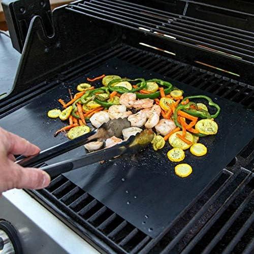 showsing Tapis de Barbecue Tapis de Cuisson Grill, Tapis de Grill Antiadhésif BBQ Feuilles de Cuisson Réutilisable et Résistant pour Barbecue 2 Round 1 Rectangular 3Pcs