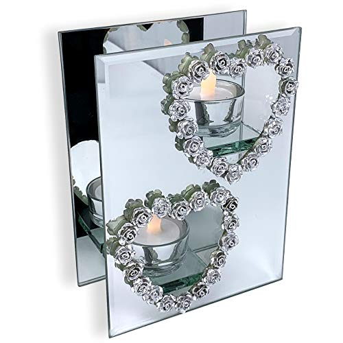 BANBERRY DESIGNS Mirrored Candle Holder - Silver Heart Candleholder - Heart Candle Holder - 2 Flameless Tea Light Candles Included