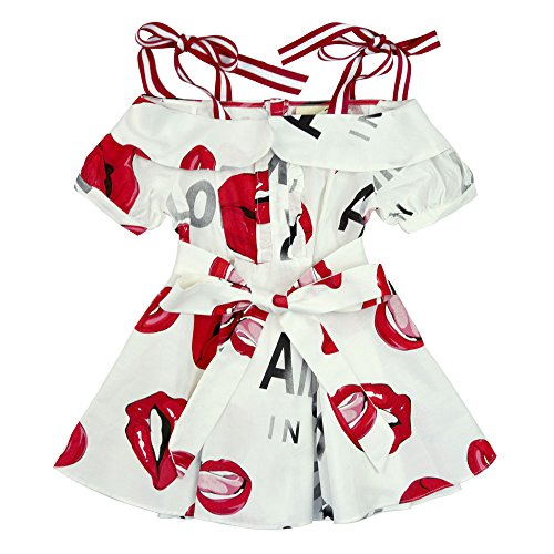 sandals AIMBAR Kids Girls' Flowers Pattern Flying Sleeves Summer Dress Size 3-10 Years (Red, 3-4 Years)