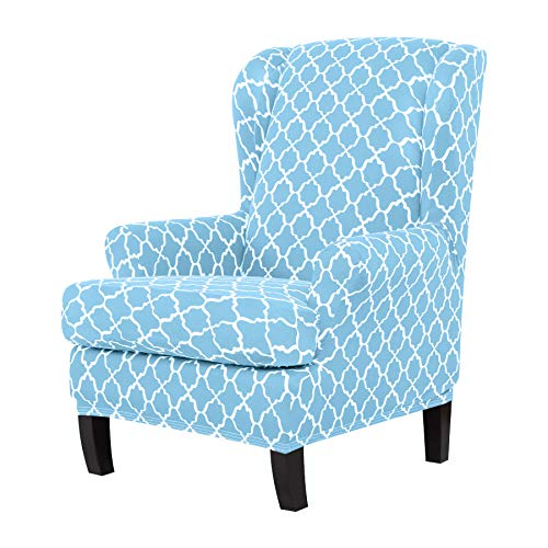 (TIKAMI Wing Chair Slipcovers Stretch Wingback Armchair Cover 2-Piece Sofa Furniture Protector with Printing Pattern Spandex Fabirc(Sky Blue))