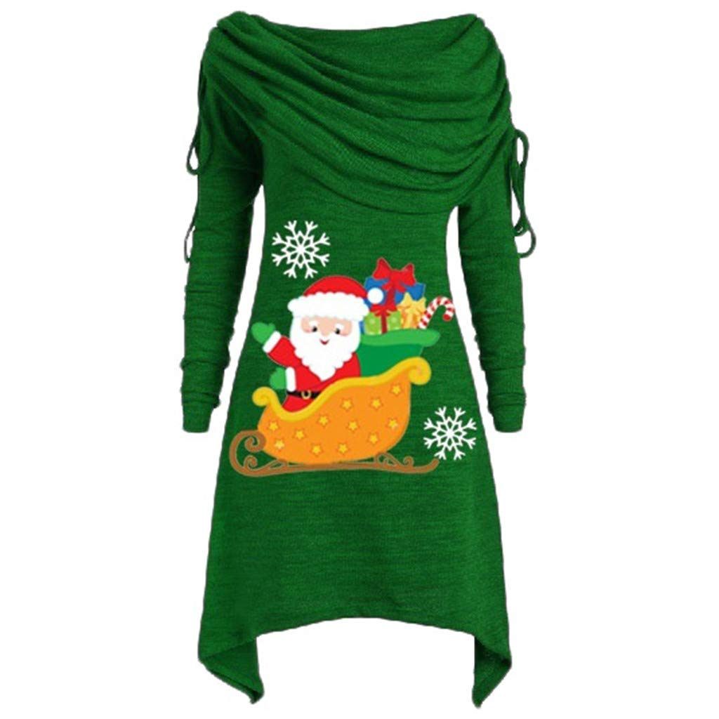 ZOMUSAR Women's Bib Collar Irregular Pleated One-Shoulder Santa Claus Top Plus Size Ruched Foldover Collar Tunic Blouses Green by ZOMUSAR