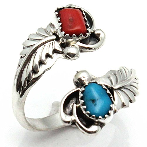 Adjustable Ring Featuring Turquoise & Coral (Navajo Adjustable Ring)