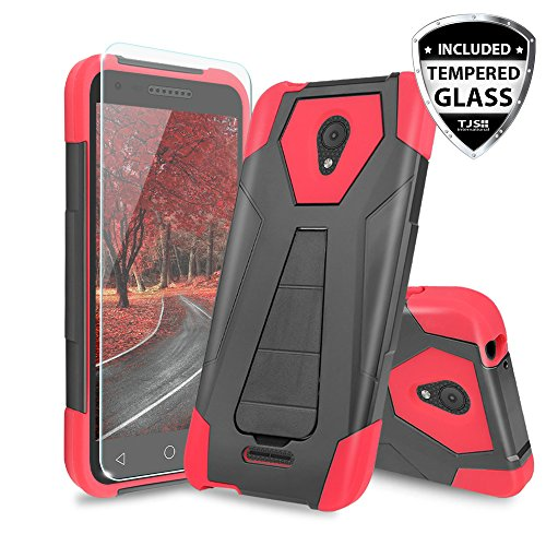 Alcatel Verso Case, Alcatel idealXCITE Case, Alcatel CameoX Case, Alcatel Raven LT Case, TJS [Tempered Glass Screen Protector] Shock Absorbing Phone Cover Kickstand Silicone Inner Layer (Red/Black)