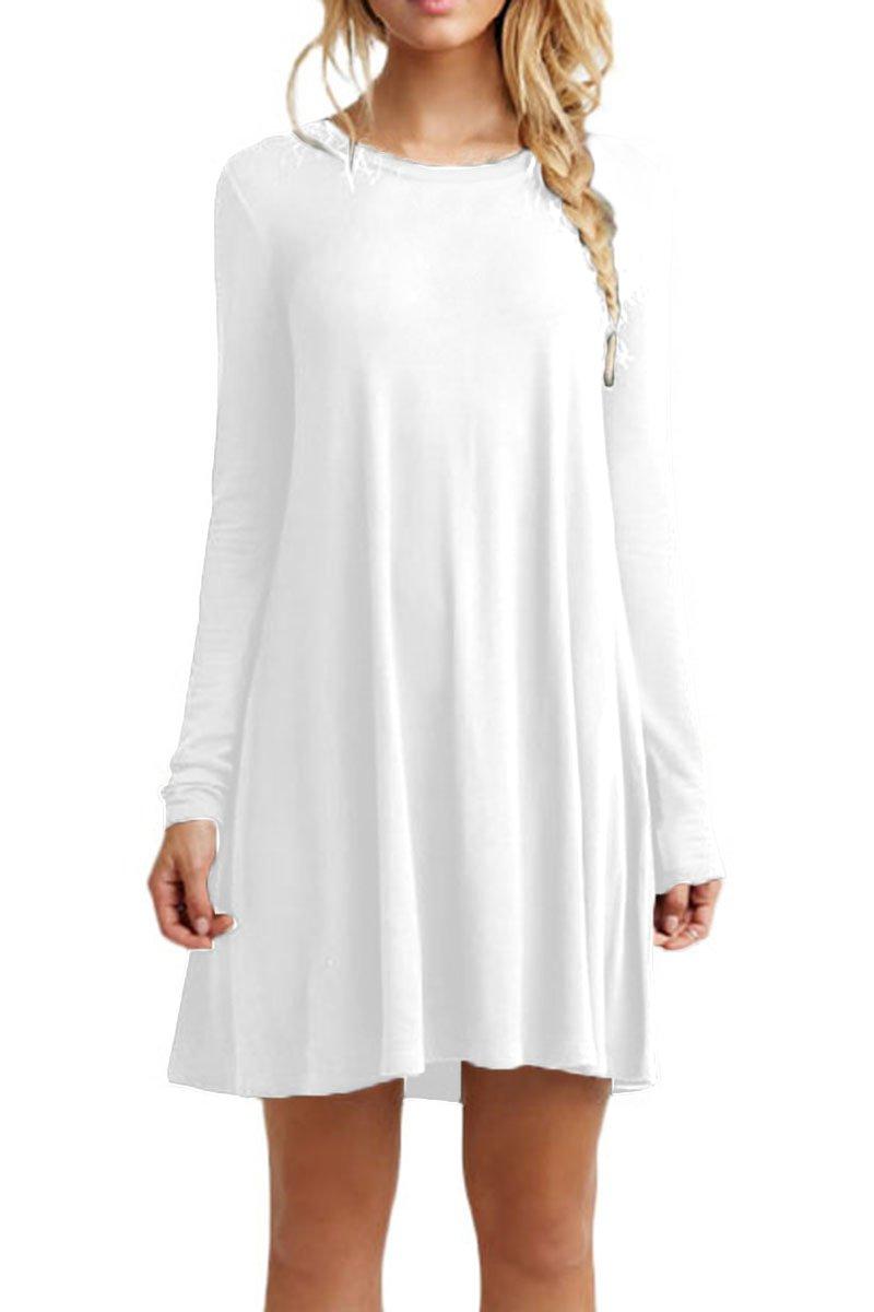 YMING 2018 New Fall Dresses for Women Long Sleeve Flowy Dress White L