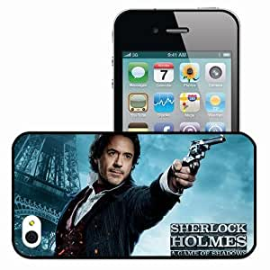 Personalized iPhone 4 4S Cell phone Case/Cover Skin Robert downey jr in sherlock holmes movies Black