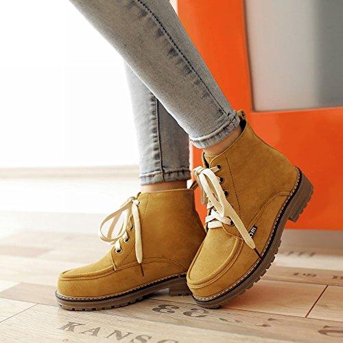 Latasa Womens Faux Nubuck Lace-up Chunky Ankle High Desert Boots dark yellow UKZ2R