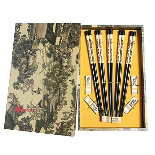 Chopsticks Reusable Chinese Style Dragon Chopsticks, 5 Pairs Wooden Chopsticks with Holder Chinese Gift Set