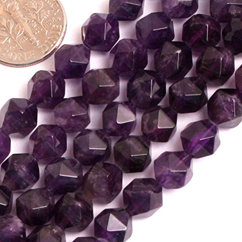 (GEM-inside Natural 8mm Faceted Amethyst Gemstone Loose Beads Purple Square Crystal Energy Stone Beads for Jewelry Making Jewelry Beading Supplies for)