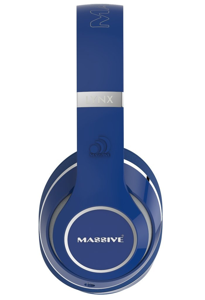 Massive Audio Lynx Noise Cancelling Wired Headphones with Microphone, Over-Sized Drivers, On Ear Controls (Blue)